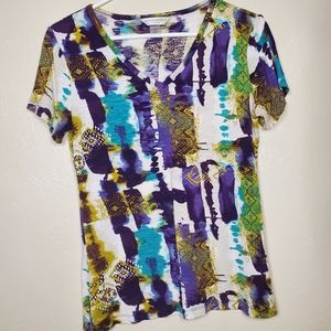 Christopher & Banks Abstract Short Sleeve Top